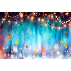 Fairy Lights Maple Leaf Misty Forest Halloween Backdrop Stage Party Background