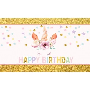 Gold Glitter Unicorn Backdrop Kid Happy Birthday Photography Background Decoration Prop