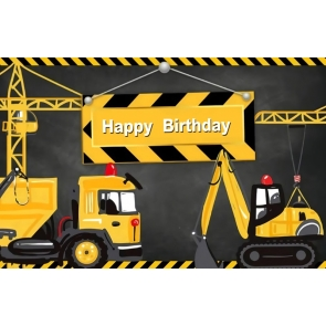 Dump Truck Construction Theme Boy Happy Birthday Cake Table Backdrop Photography Background Decoration Prop