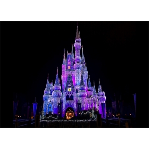 Fairy Lights Night Scene Castle Background For Party Photography Backdrop