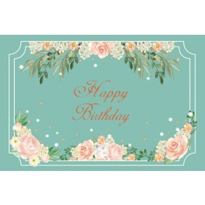 Floral Blue Happy Birthday Party Backdrop Photography Background