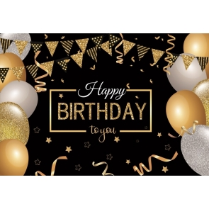 Glitter Balloon Banner Happy Birthday To You Backdrop Party Photography Background