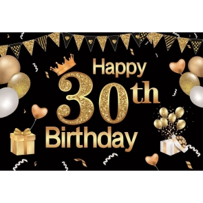 Glitter Banner Balloon Happy 30th Birthday Backdrop Party Photography Background