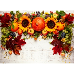 Pumpkin Sunflower Fruit Theme Wood Board Happly Thanksgiving Backdrop