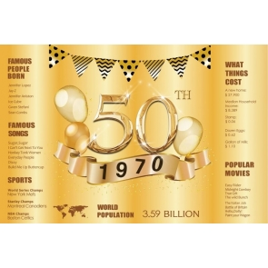 Gold 1970 Poster Happy 50th Birthday Backdrop Party Photography Background