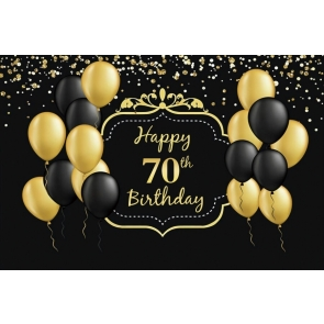 Gold And Black Balloon Happy 70th Birthday Party Photography Background