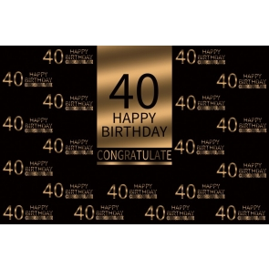 Gold And Black Congratulate Happy 40th Birthday Party Backdrop Photography Background