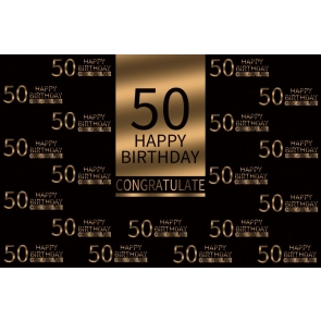 Gold And Black Happy 50th Birthday Party Congratulate Backdrop Photography Background