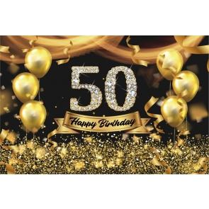 Gold Balloon Diamond Happy 50th Party Birthday Photography Background