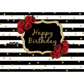 Gold Glitter Rose Flower Black And White Striped Backdrop Happy Party Birthday Photography Background