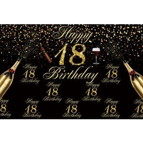 Gold Sparkle Happy 18th Birthday Backdrop Banner Party Photography Background