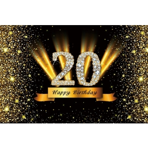 Gold Sparkle Happy 20th Birthday Backdrop Banner Party Photography Background