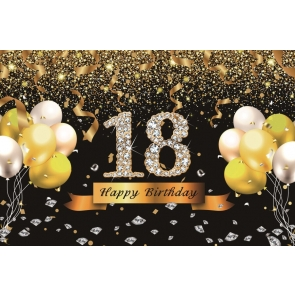 Gold Tassel Sparkle 18th Birthday Backdrop Banner Party Photography Background