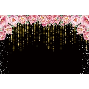 Gold Tassel Sparkle Birthday Mother's Day Party Floral  Backdrop Photography Background
