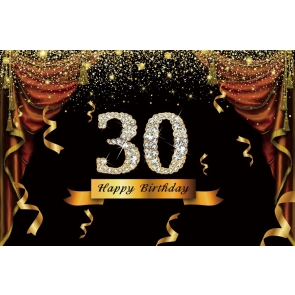 Gold Tassel Sparkle Happy 30th Birthday Party Backdrop Photography Background