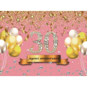 Gold Tassel Sparkle Masonry 30th Birthday Backdrop Banner Party Photography Background