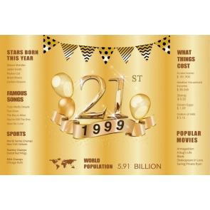 Happy 21st Birthday Party Gold Backdrop Photography Background