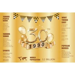 Happy 30th Party Birthday 1990 Gold Backdrop Photography Background