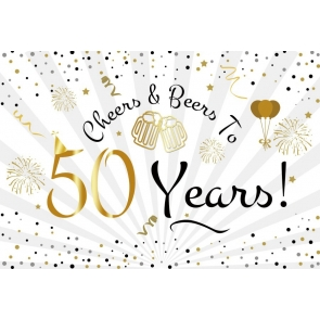 Happy 50th Birthday Backdrop Cheers to 50 Years Party Photography Background