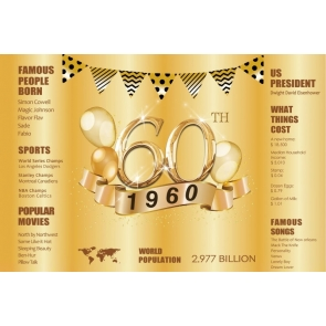 Happy 60th Party Birthday Dad 1960 Gold Backdrop Photography Background