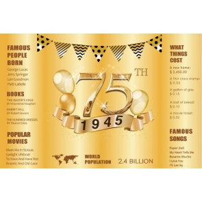 Happy 75th Birthday Dad 1945 Party Gold Backdrop Photography Background