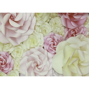 Beig And Pink Flower Wall Valentines Backdrops Wedding Background