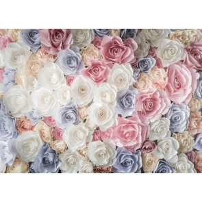 White Pink Darky Blue Rose Flower Wall Wedding Backdrops Valentines Background