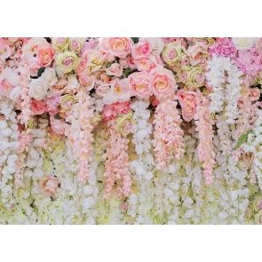 Various Colours Of Roses And Rattan Flower Wall Valentines Backdrop