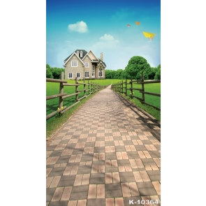Spring Rustic Green Grassland Manor Scenic Manor Photographic Backdrops