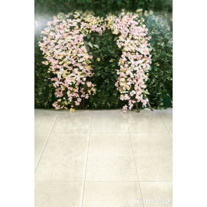Green Leaves Pink Flowers Ceramic Tiles Wedding Professional Photography Backdrops