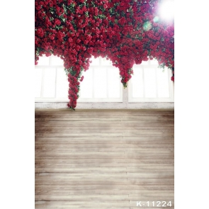Red Roses Flowers on Windows Indoor Wedding Large Photography Backdrops