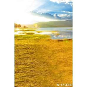 Beautiful Yellow Grasslands Water Scenic Photographic Backdrops