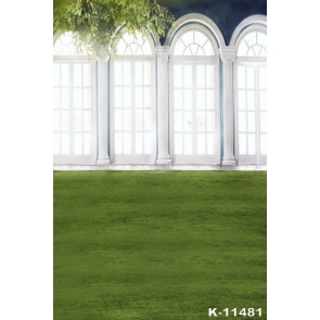 Green Grassland White Windows Photography Background Props