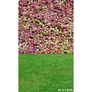 Pink Yellow Roses Flowers Wall Green Grassland Newborn Photography Backdrops