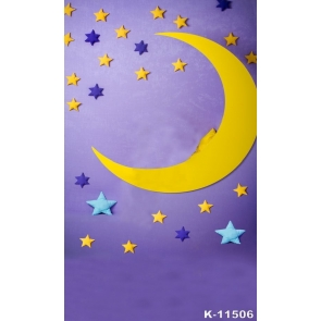 Star Moon Purple Wall Background Baby Dream Backdrop