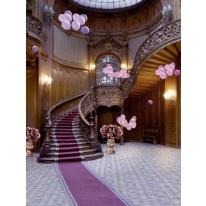 Luxury Medieval Wood Stairs Villa Living Room Background Wedding Backdrops