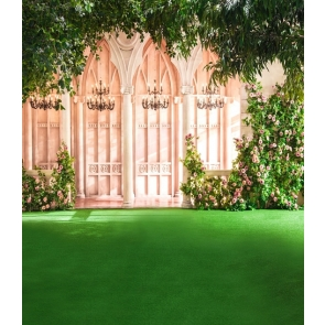 European Architecture Green Grass Flowers Wedding Background Photo Backdrops