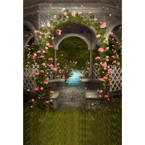 Retro Gazebo Flower Dream Romance Wedding Backdrop Studio Photography Background Prop