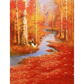 Fall Red Maple Leaves Painting Scenic Backdrop Studio Portrait Photography Background Prop