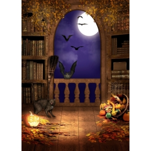 Scare Cats Bats Window Halloween Party Backdrop Prop Studio Photography Background
