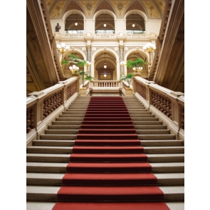 Retro Roman Architecture Staircase Red Carpet Wedding Backdrop Studio Photography Background Prop