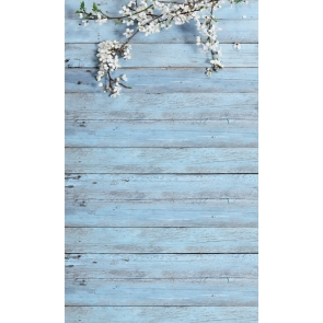Retro Wood Backdrop With Flowers Baby Showe Photography Background