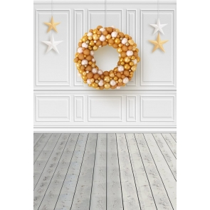 Golden Christmas Ball Wreath Christmas Wood Backdrop Photography Background Prop