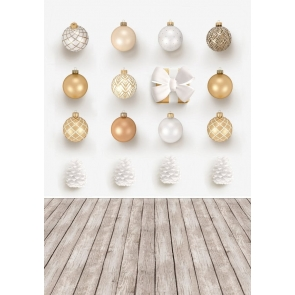 Various Christmas Balls Wood Floor Happy Christmas Party Backdrop Prop