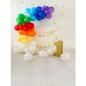 Baby 1st Happy Birthday Party Backdrop With Balloons  Portrait Photography Background Prop