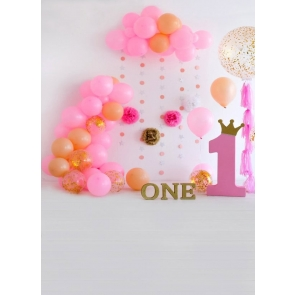 Baby Girl One Year Old 1st Happy Birthday Party Backdrop With Balloon Photography Background Prop