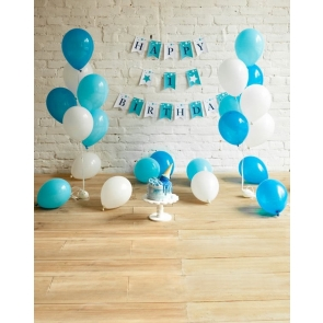 Brick Wood Floor With Balloon Baby First 1 Year Old Happy 1st Birthday Party Backdrop