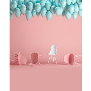 Pink Wall With Balloon Kid Baby Girl Shower Happy Birthday Party Backdrop