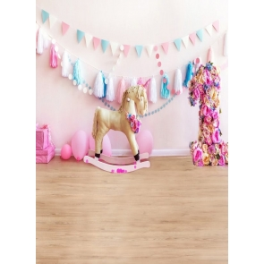 Unicorn Trojan Baby Girl First 1 Year Old Happy 1st Birthday Party Backdrop