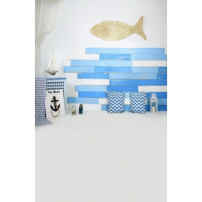 Kid Portrait Baby Shower Wood Fish Wall Backdrop Photography Background Prop